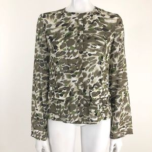 Spiegel 6 Camouflage Sheer Button Front Blouse
